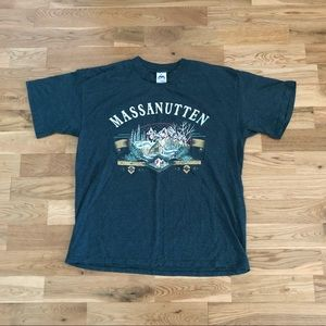 Vintage 90's Massanutten Striped Ski Print T-Shirt